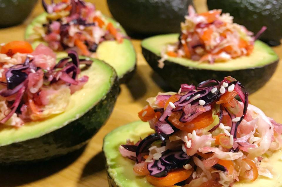 Avocado Filled With a Colorful Confetti of Sweet and Tangy Salad