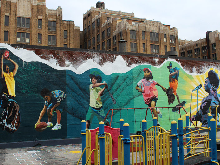 Philadelphia Playground Mural Project at 22nd and Lehigh Ave.