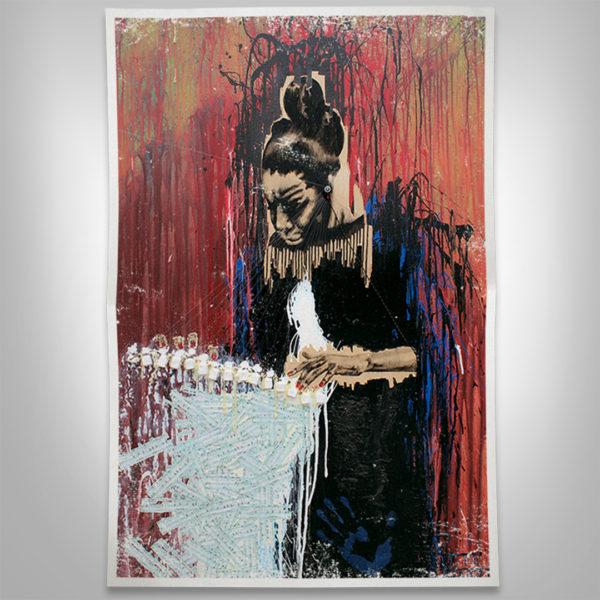 Nina Simone Artwork Mockup Print on Paper Splashing Color and Drips