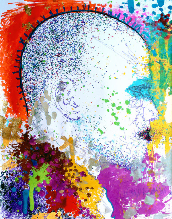 creative bright painting of malcolm x dripping with color