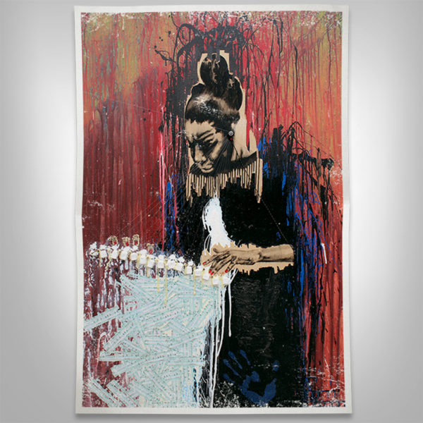 Nina Simone Artwork Mockup Print on Paper Splashing Color and Drips