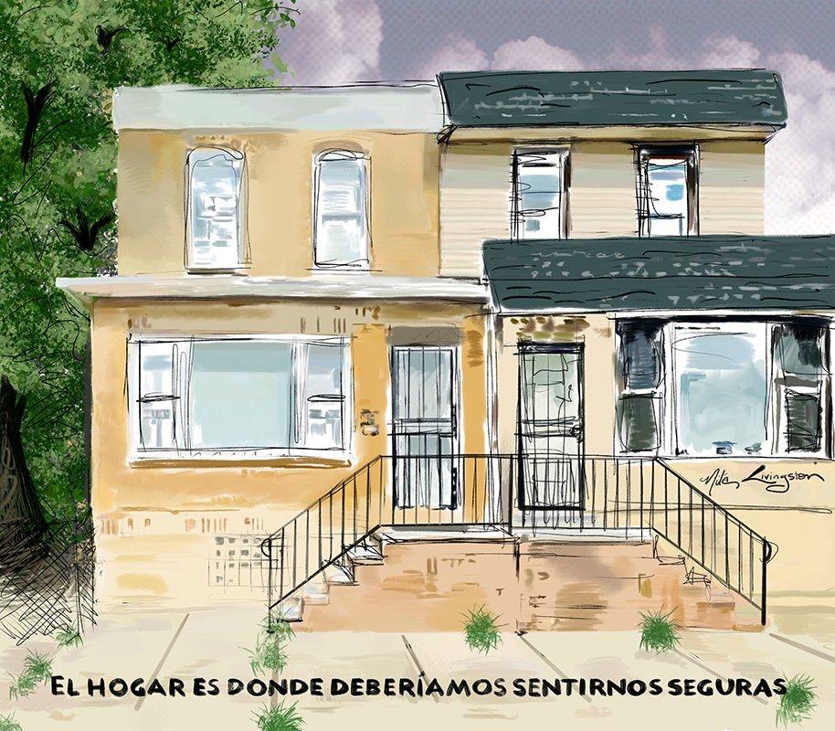 el hogar es donde debriamos sentirnos seguras row home philadelphia procreate artist mural public marketing resource