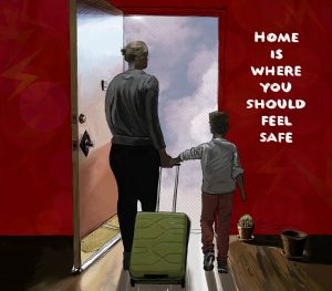 home is where you should feel safe red walls cactus green suitcase mother women child against abuse philadelphia artist
