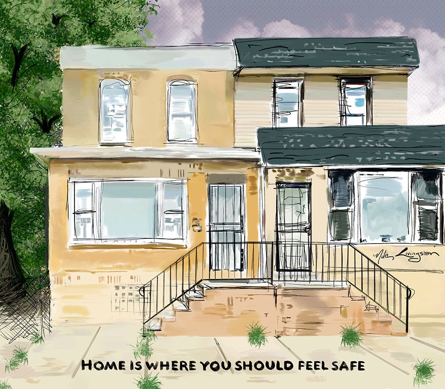 home is where you should feel safe yellow tan houses digital illustration public art grocery store six feet apart community hotline