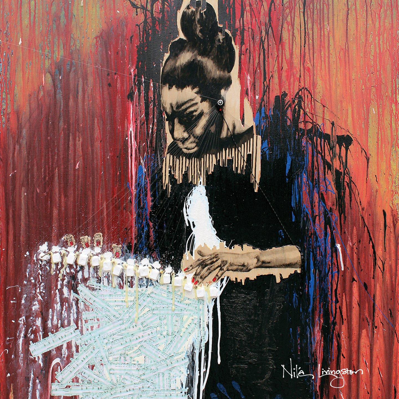 portrait of nina simone nile livingston activist black artist music civil rights red paint splatter