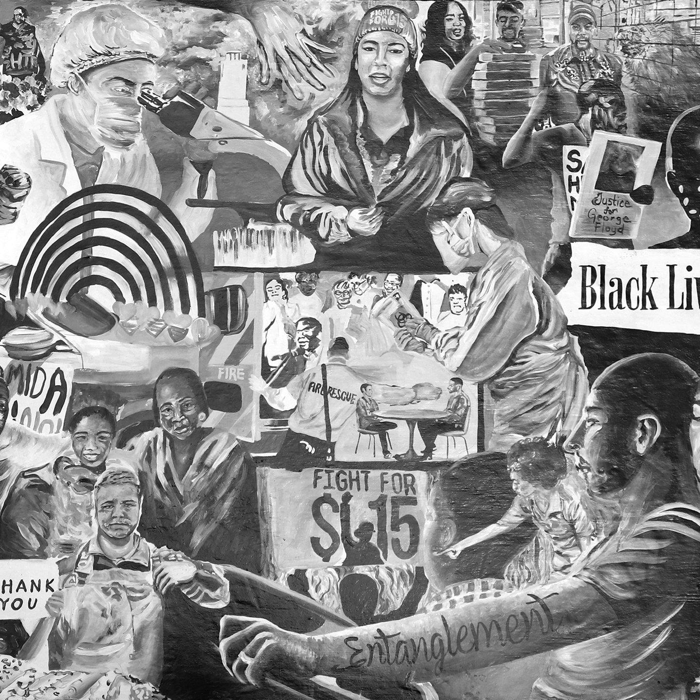 Entanglement Mural Art Nile Livingston Black White Painting 2020 Media